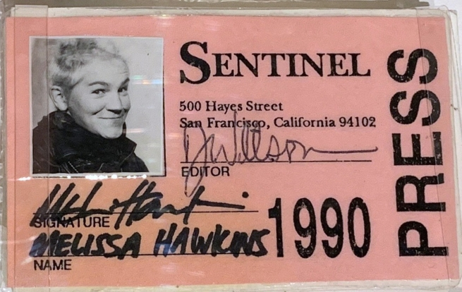 The press pass used by Melissa Hawkins during her years as a queer nightlife photographer for The San Francisco Sentinel.