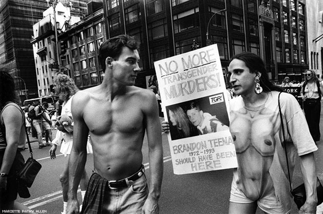 "Mariette Pathy Allen ""Brandon Teena should have been here"", Gay Pride Parade, 1993. Courtesy of the artist."
