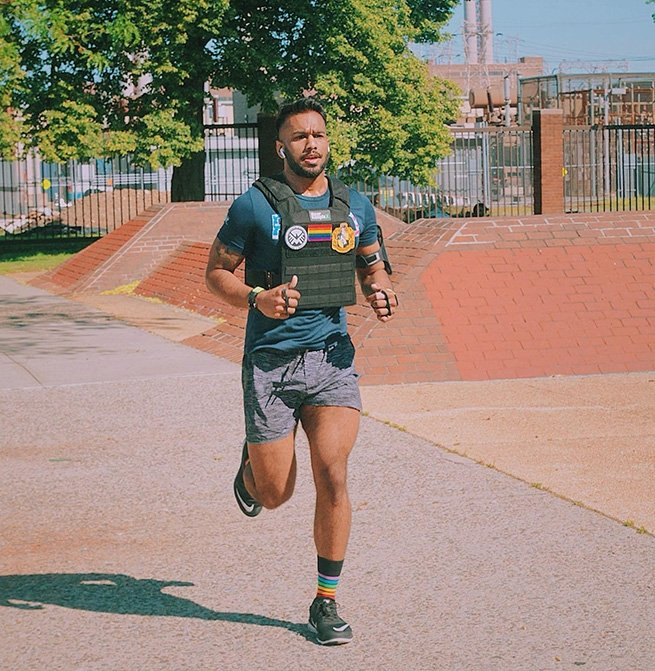 Reshad Asgarali, member of CrossFit Dynamix in Queens, New York, mid workout.