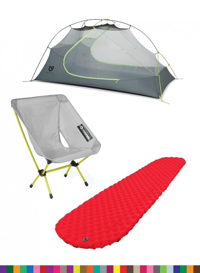 Nemo Firefly, Helinox Chair Zero, Sea to Summit Insulated Inflatable Backpacking Pad