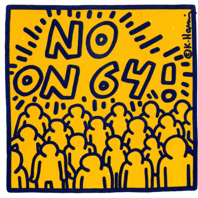 No on 64 Keith Haring pamphlet, 1986