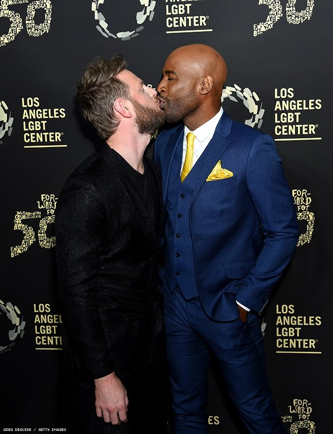 Bobby Berk and Karamo Brown attend Los Angeles LGBT Center Celebrates 50th Anniversary With Hearts Of Gold Concert & Multimedia Extravaganza