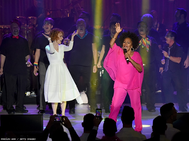 Kathy Griffin and Jenifer Lewis perform onstage