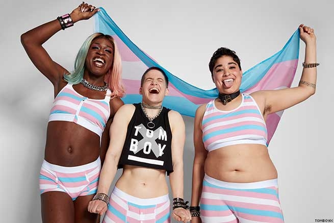 Miles Jai, Theo Germaine, and Trice McKinnon Model TomboyX's Trans Pride Collection
