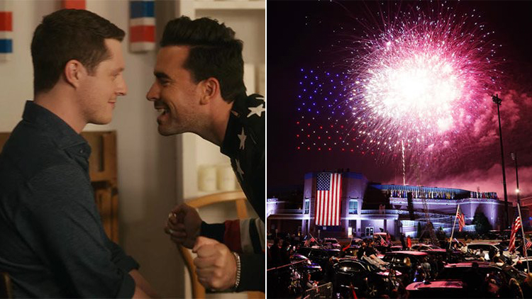 Schitt's Creek scene and Joe Biden victory fireworks