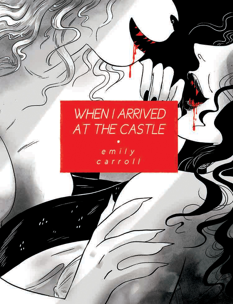 Cover of When I Arrived at the Castle featuring catwoman and vampiress embracing with blood dripping from their mouths